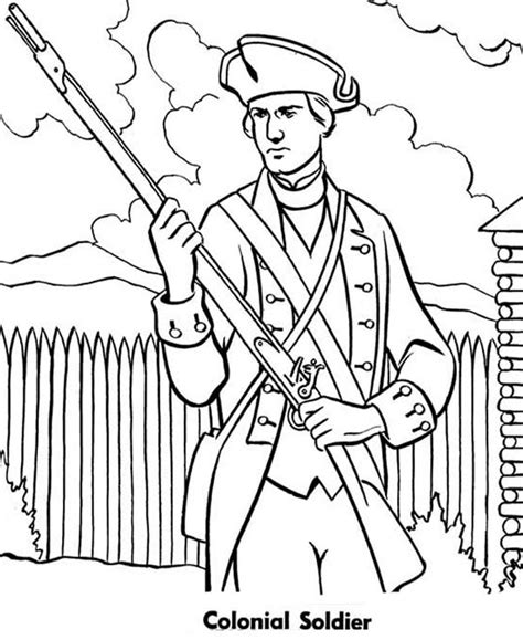 colonial soldier coloring page sketch coloring page