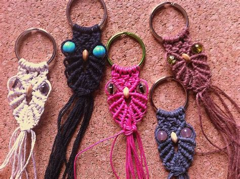 Macrame Keychain Pattern - hemp macrame owl keychains my and jewelry