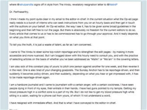 Resignation Letter Viral Rahul Pandita S Resignation Letter To The Hindu S Malini Parthasarthy Goes Viral Firstpost