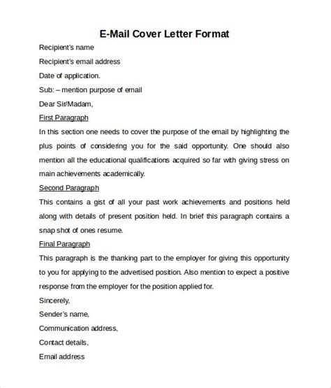 Email Cover Letter Restaurant Resume Email Cover Letter Sle Sle Of Cover Letter For Resume And Format Restaurant