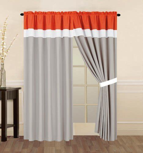 orange and white curtain panels fancy collection 2 panel curtain orange grey and white