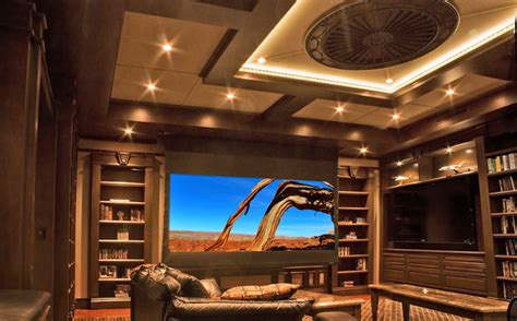 upscale library converts  stunning home theater
