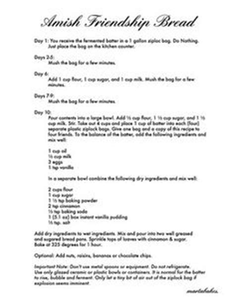 printable directions for amish friendship bread 1000 images about amish friendship bread on pinterest