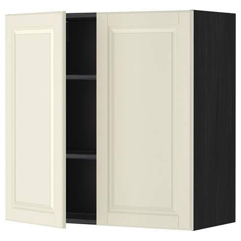 off the shelf kitchen cabinets metod wall cabinet with shelves 2 doors black bodbyn off