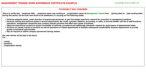 certification letter for trainee management trainee work experience certificate letter format