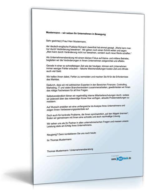 Bewerbung Muster Unternehmensberatung Werbebrief F 252 R Unternehmensberatung Muster Zum