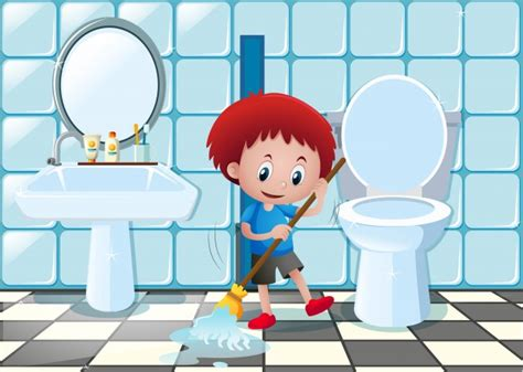 wozu dient ein bidet boy cleaning bathroom floor vector premium
