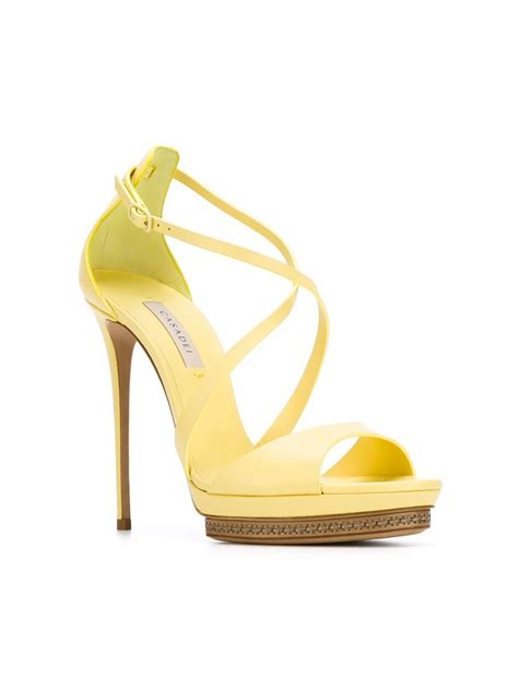 yellow strappy sandals casadei strappy stiletto sandals in yellow lyst