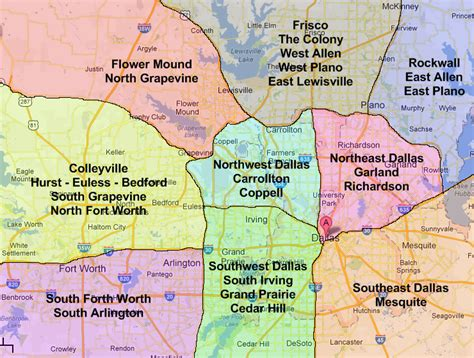 map of dallas and suburbs dfw zone map dallas running guide