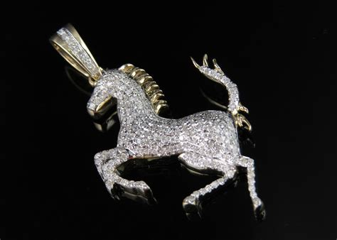 golden ferrari with diamonds 10k yellow gold ferrari logo horse 1 5 inch genuine