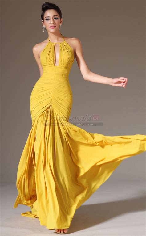 Long Halter Chiffon Yellow Empire Waist Mermaid Bridesmaid