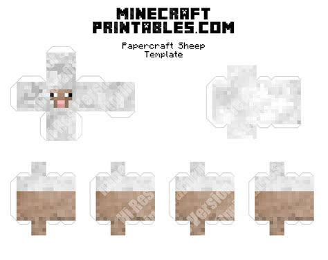 Papercraft Print - sheep printable minecraft sheep papercraft template