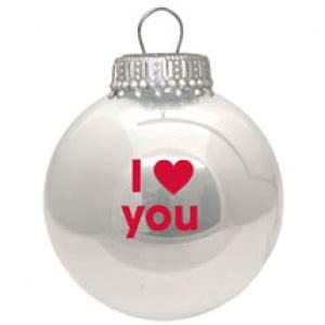 i love you white christmas tree bauble