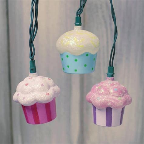 String Lights Cupcakes Glitter Dessert Outdoor Green Wire Cupcake String Lights