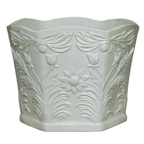 Ceramic Flower Pots Andrea By Sadek Ceramic White Hexagonal Flower Pot 6 5