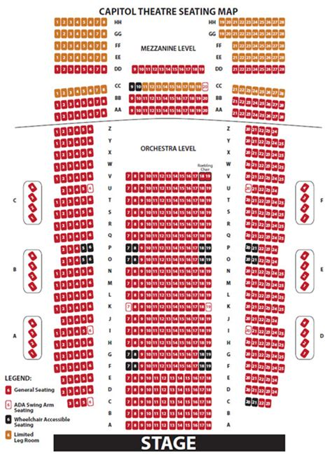 capitol theatre seating seating charts ruth eckerd
