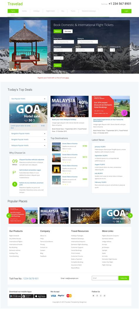 html5 travel templates travelad free html5 css3 travel hotel template free