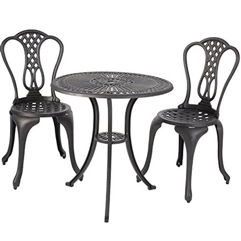Aluminum Bistro Table And Chairs Merax 3 Outdoor Bistro Patio Set Cast Aluminum Furniture Set Table And Chairs Black