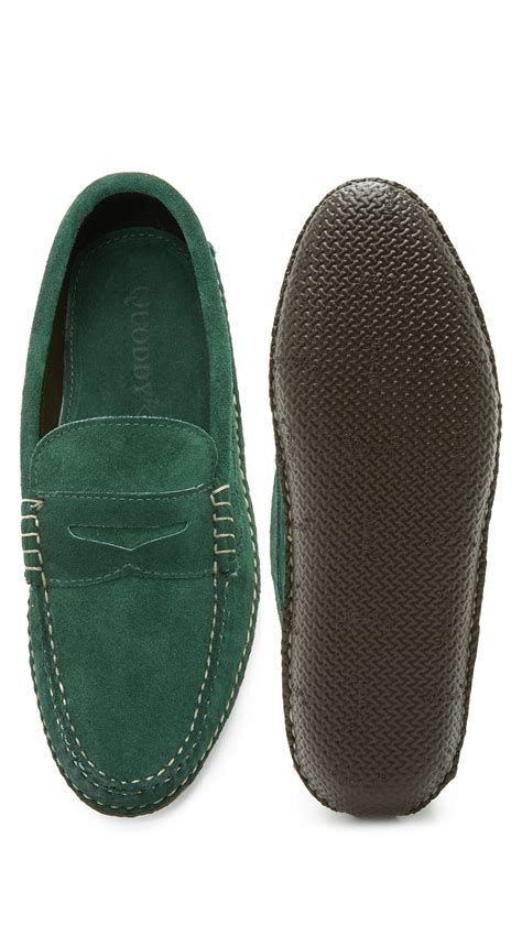 green mens loafers quoddy suede loafers in green for lyst