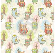 Cute Cartoon Owls Fantasy Coloful Pattern Royalty Free Stock Image