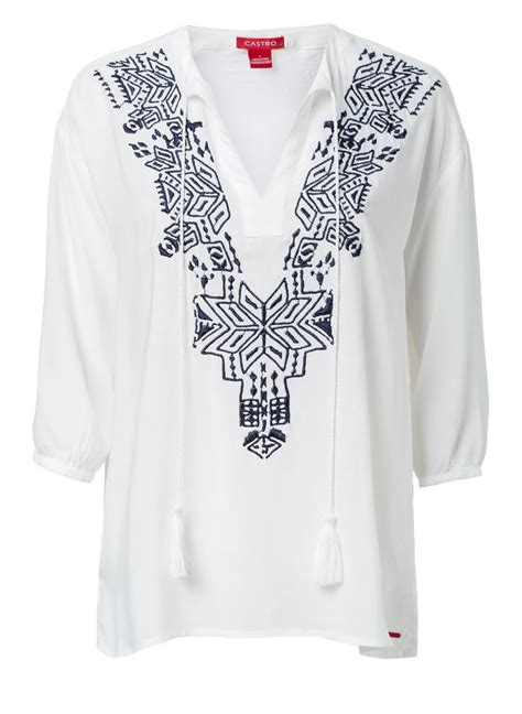 Blouse White Etnic blue and white ethnic print embroidered blouse from castro s june lookbook june lookbook 2015