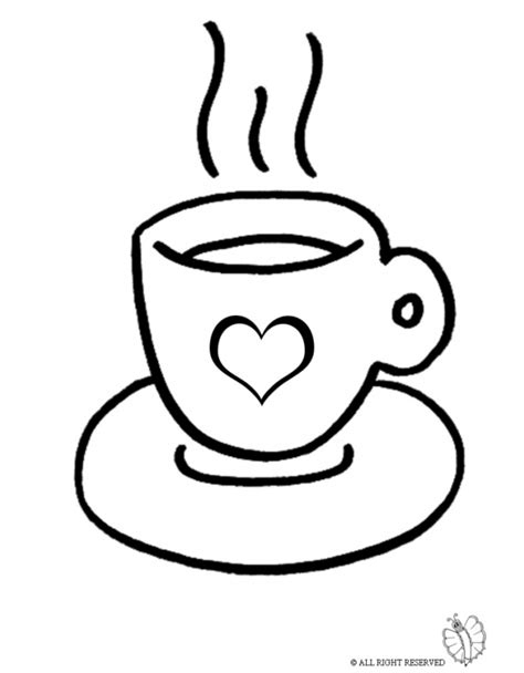 coloring page of coffee cup for coloring for kids