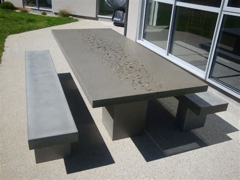 patio table with bench seating shop flowing stone concrete design