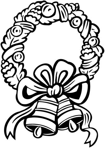 christmas wreath  jingle bells coloring page
