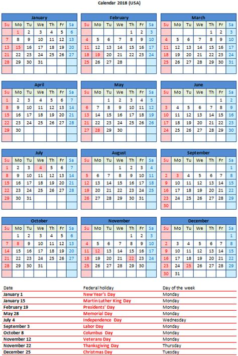 Calendar 2018 Word Doc Free 2018 Word Calendar With Us Holidays Free Printable Pdf