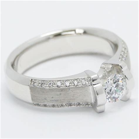 brushed center tension engagement ring 14k white gold