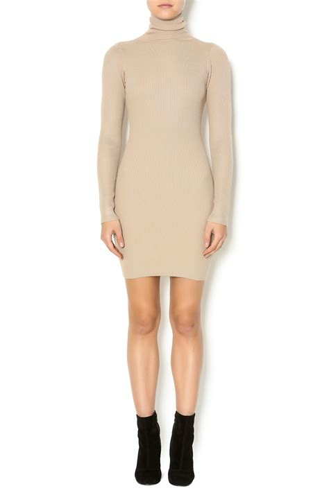 Sweater Dresses by Hera Collection Beige Turtleneck Sweater Dress From