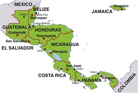 america map showing countries map of central america countries and capitals