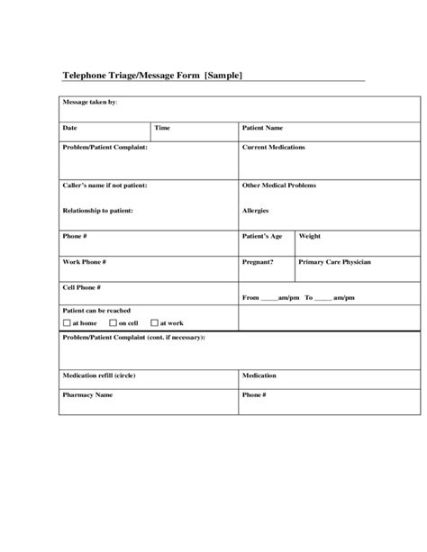 Sle Telephone Message Form Free Download Nursing Telephone Triage Template