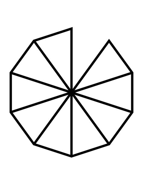 fractions of 10 sided polygon clipart etc