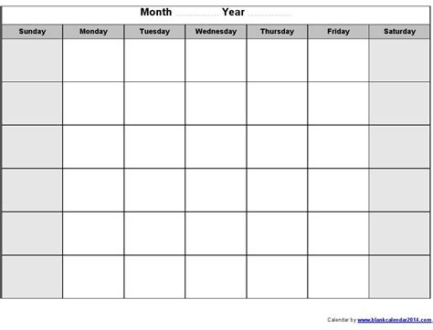 Month Template blank printable monthly calendar