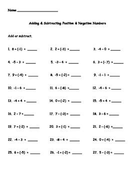 Positive And Negative Numbers Worksheet by Adding And Subtracting Positive And Negative Numbers