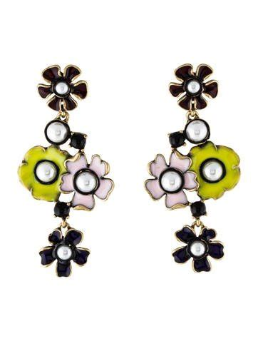 Flower Faux Pearl Drop Earring oscar de la renta faux pearl enamel flower drop earrings