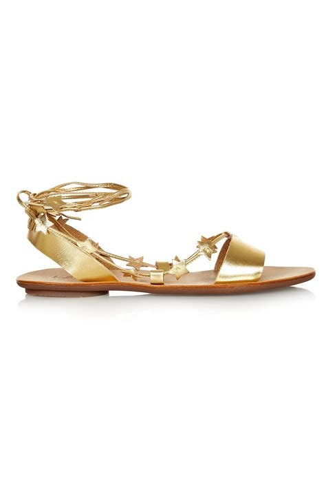 ankle wrap sandal loeffler randall starla gold leather ankle wrap flat