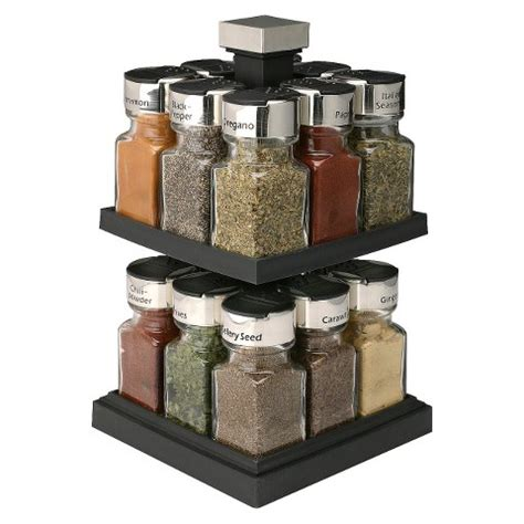 Spice Jar Stand Olde Thompson Square Rotating Spice Rack 16 Jars Target