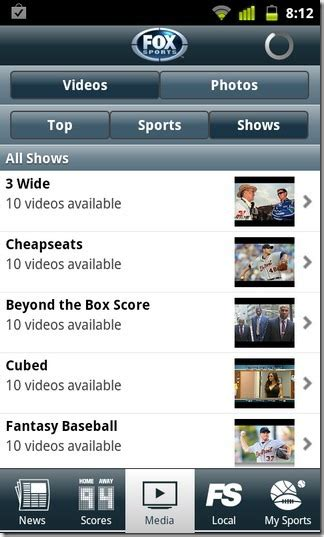 fox sports app for android official fox sports mobile app debuts on android market