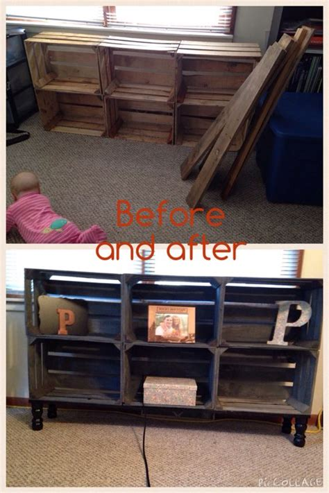 Made Stand made fruit crate and pallet wood tv stand grey and