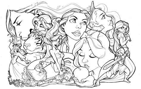 Disney Princesses Lineart By Comfortlove On Deviantart Disney Princess Line Drawings Printable