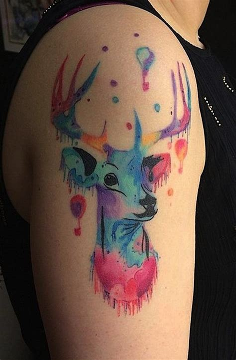 deer watercolor tattoo watercolor deer designs ideas and meaning