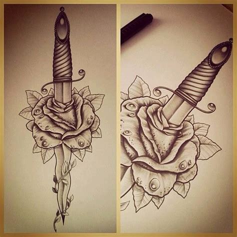 dagger through rose tattoo dague tatouages roses