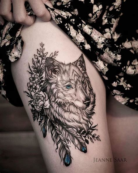 wolf thigh tattoo best 25 wolf tattoos ideas on tree