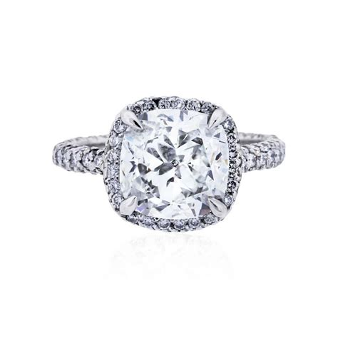 Cushion Engagement Rings by Platinum 3 02ct Cushion Cut Engagement Ring
