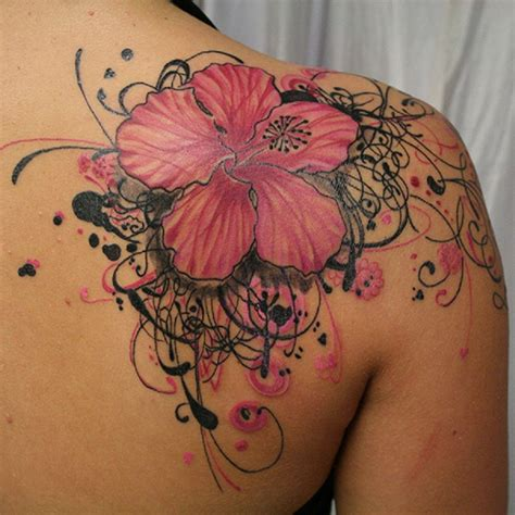 floral shoulder tattoo hawaiian flower on right back shoulder
