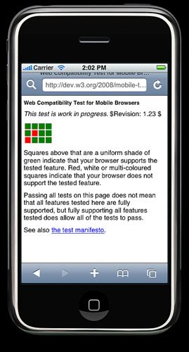 gallery of screenshots for the version of web compatibility test for mobile browsers
