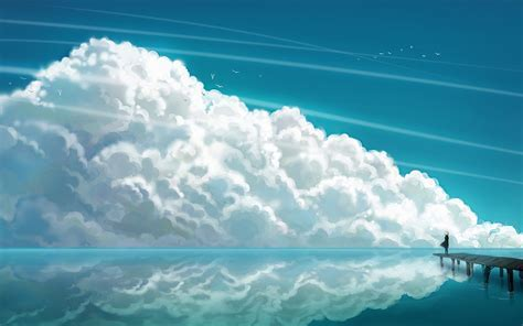 Big fluffy cloud on the beautiful blue sky  abstract drawing