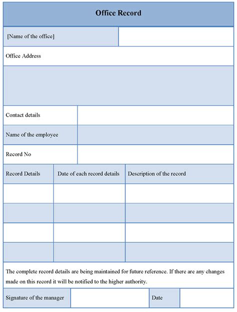 templates office office template for record form exle of office record